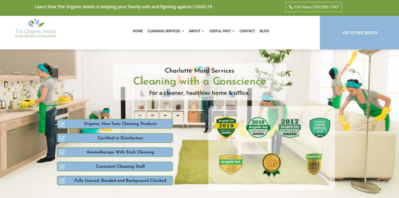 Organic Maids_homepage